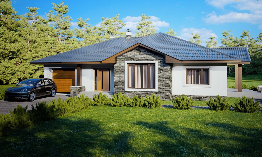 Проект одноэтажного дома с гаражом и террасой «КО-126» - фото №1