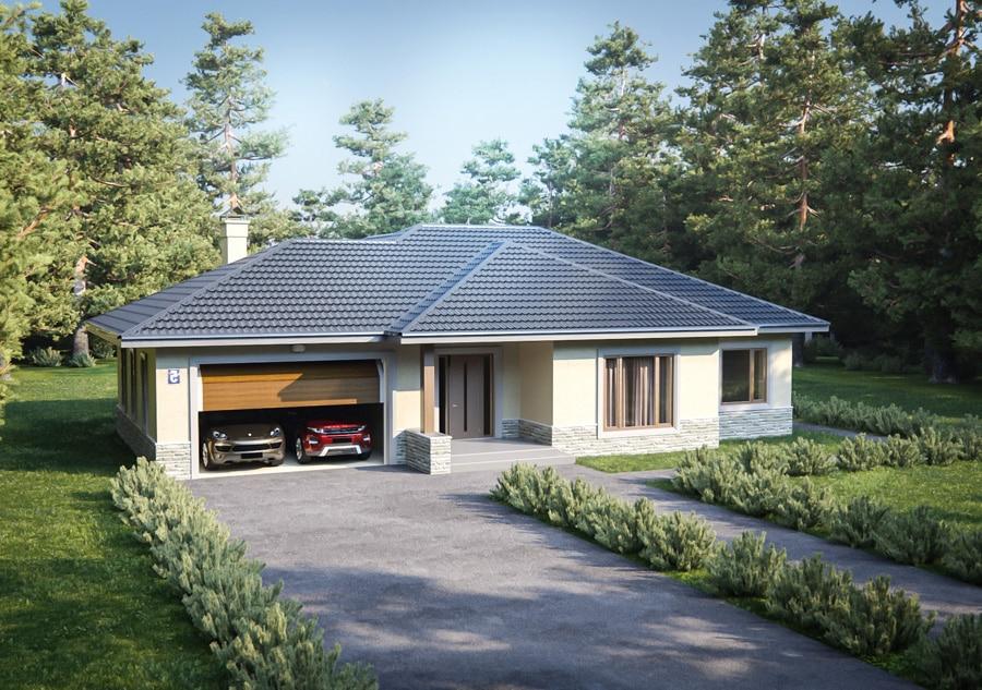 Проект одноэтажного дома с гаражом на 2 машины «КО-127» - фото №1