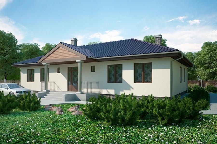 Проект одноэтажного дома с большой гостиной «КО-129» - фото №1