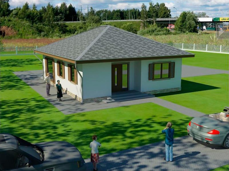Проект небольшого одноэтажного дома с террасой «КО-130» - спереди