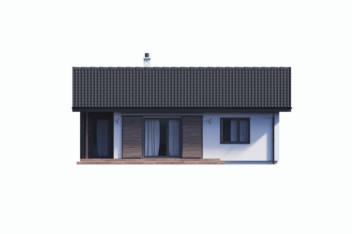 Фасад одноэтажного дома с террасой «КО-132» - сзади