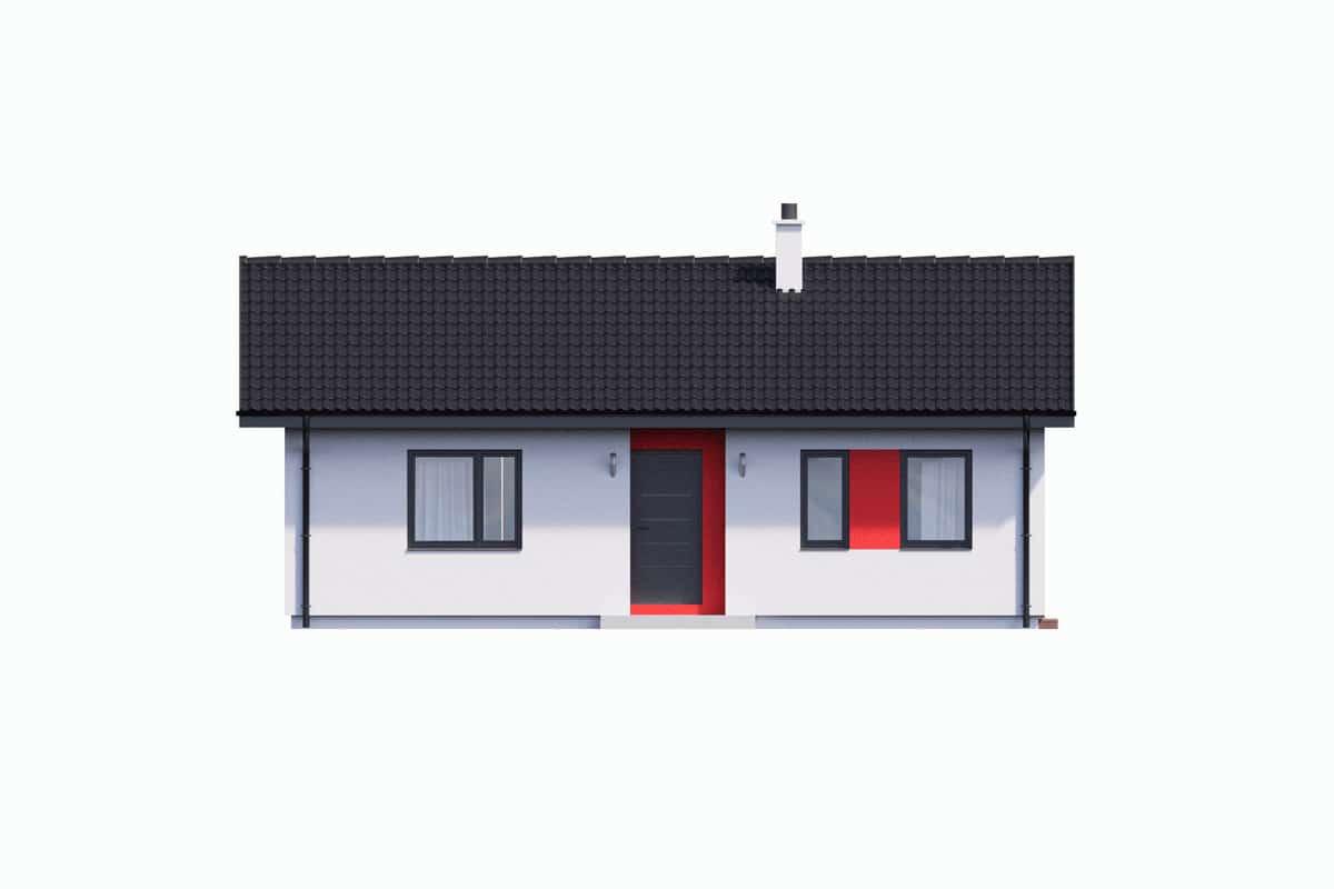 Фасад одноэтажного дома с террасой «КО-132» - спереди