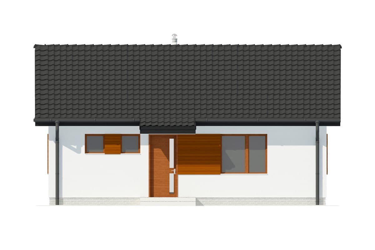 Фасад одноэтажного дома c террасой «КО-133» - спереди