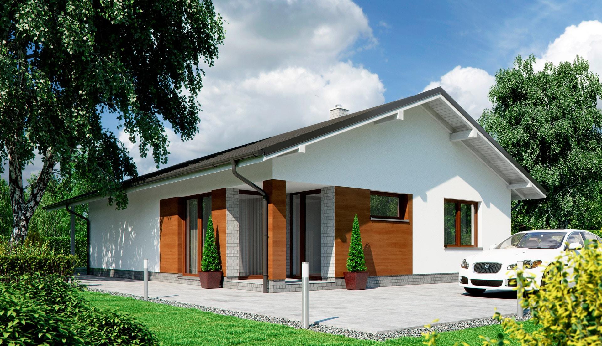 Проект одноэтажного дома c террасой «КО-143» - фото №1