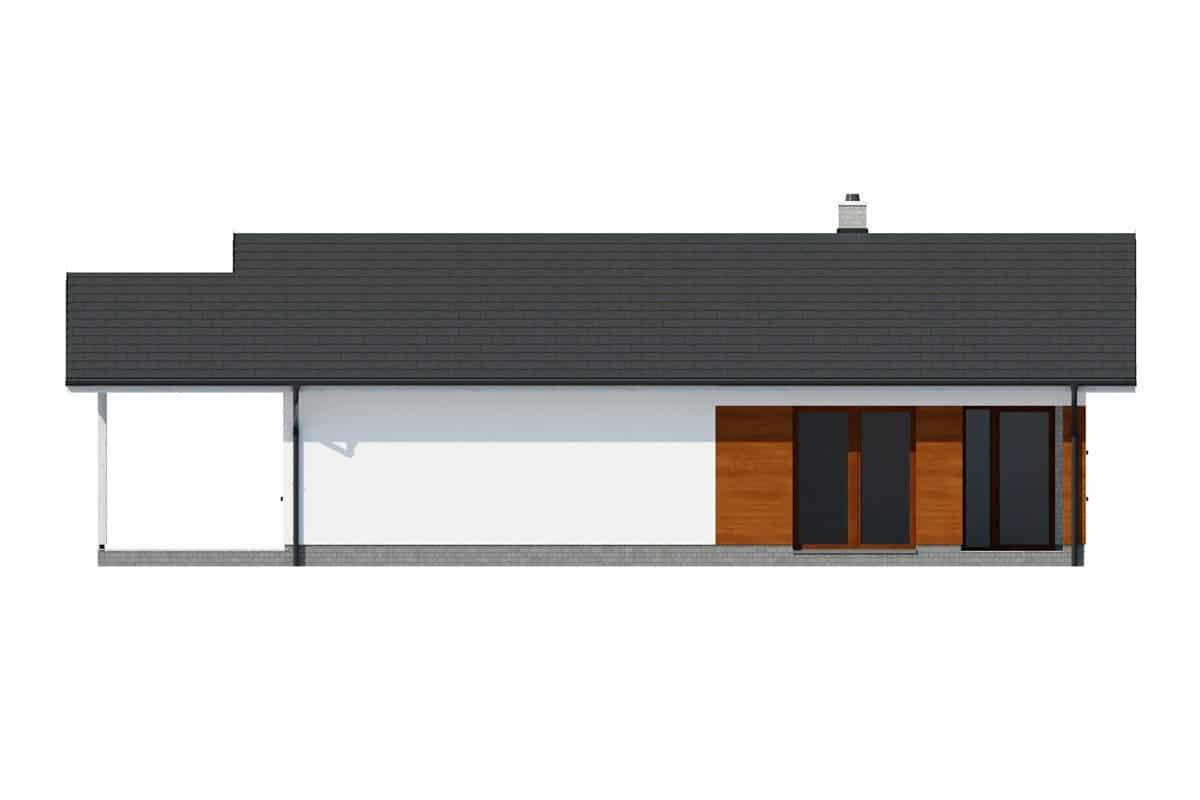Фасад одноэтажного дома c террасой «КО-143» - слева