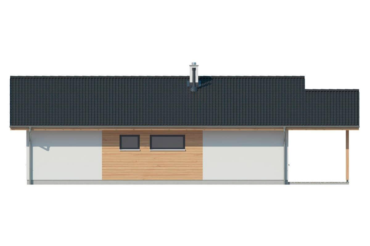 Фасад одноэтажного дома c террасой «КО-144» - сзади