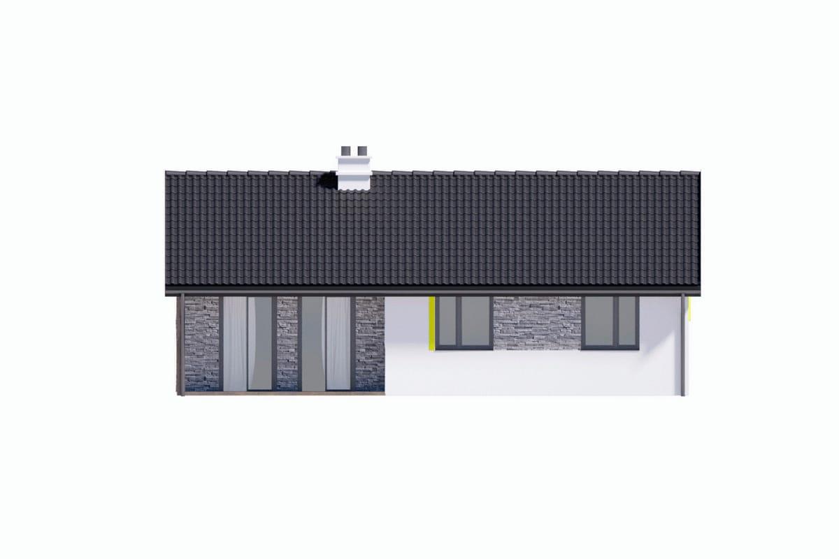 Фасад одноэтажного дома c гаражом «КО-147» - сзади