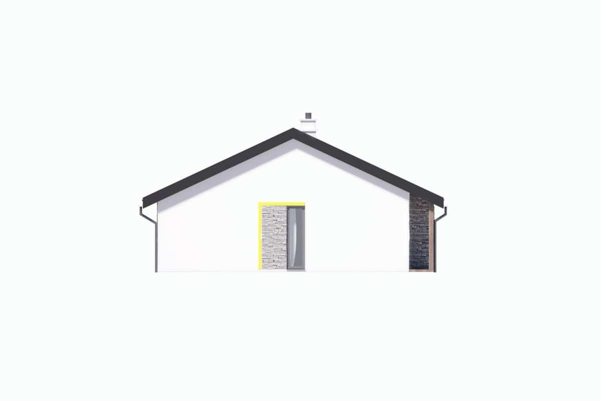 Фасад одноэтажного дома c гаражом «КО-147» - справа