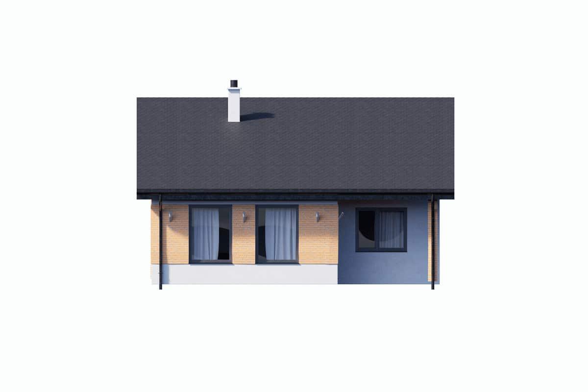 Фасад одноэтажного дома c гаражом «КО-150» - сзади