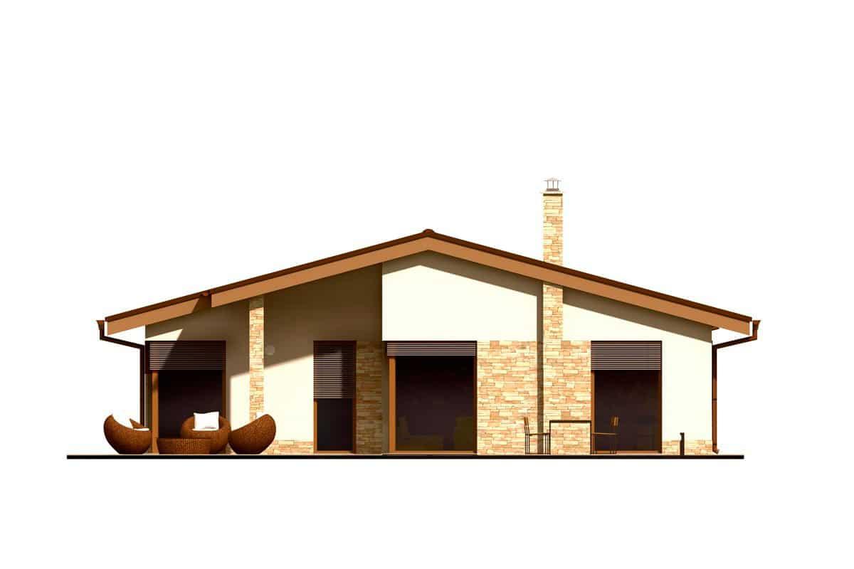 Фасад одноэтажного дома «КО-152» - сзади