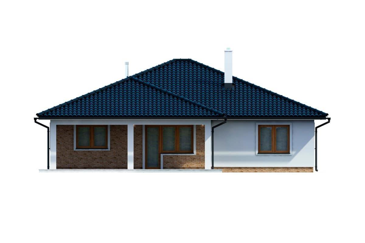 Фасад одноэтажного дома c террасой «КО-154» - сзади
