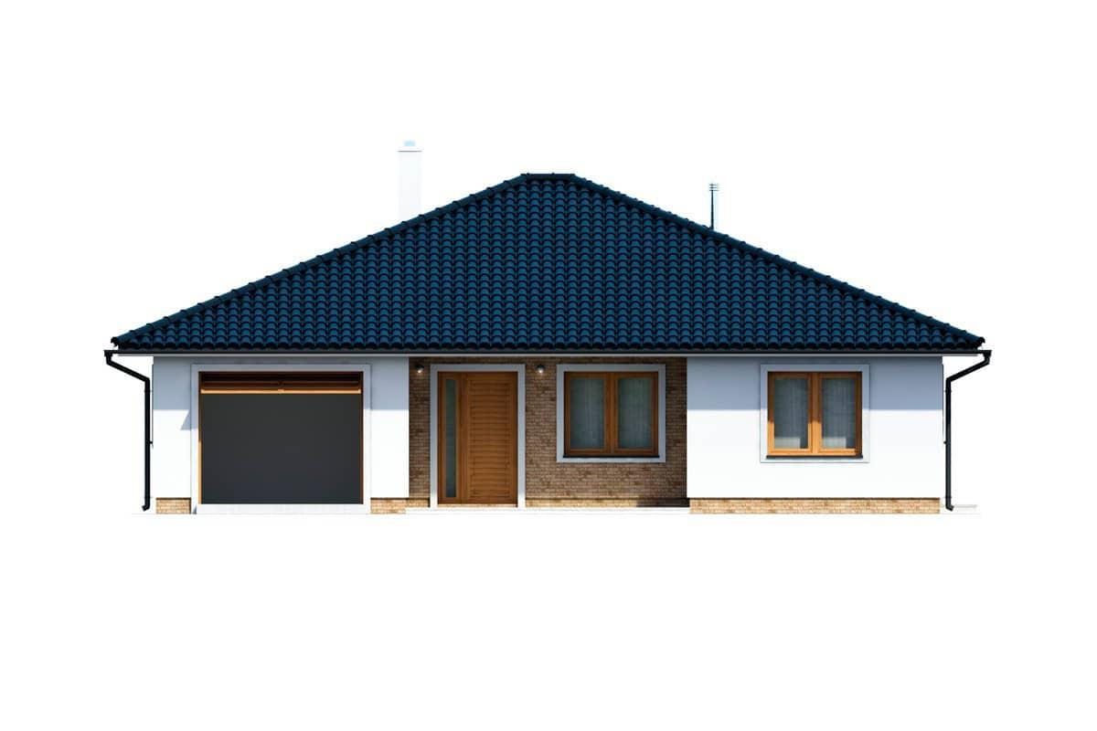 Фасад одноэтажного дома c террасой «КО-154» - спереди