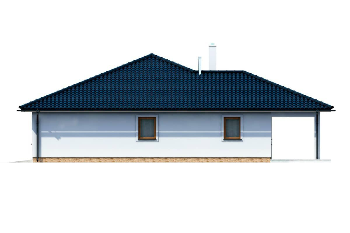 Фасад одноэтажного дома c террасой «КО-154» - справа