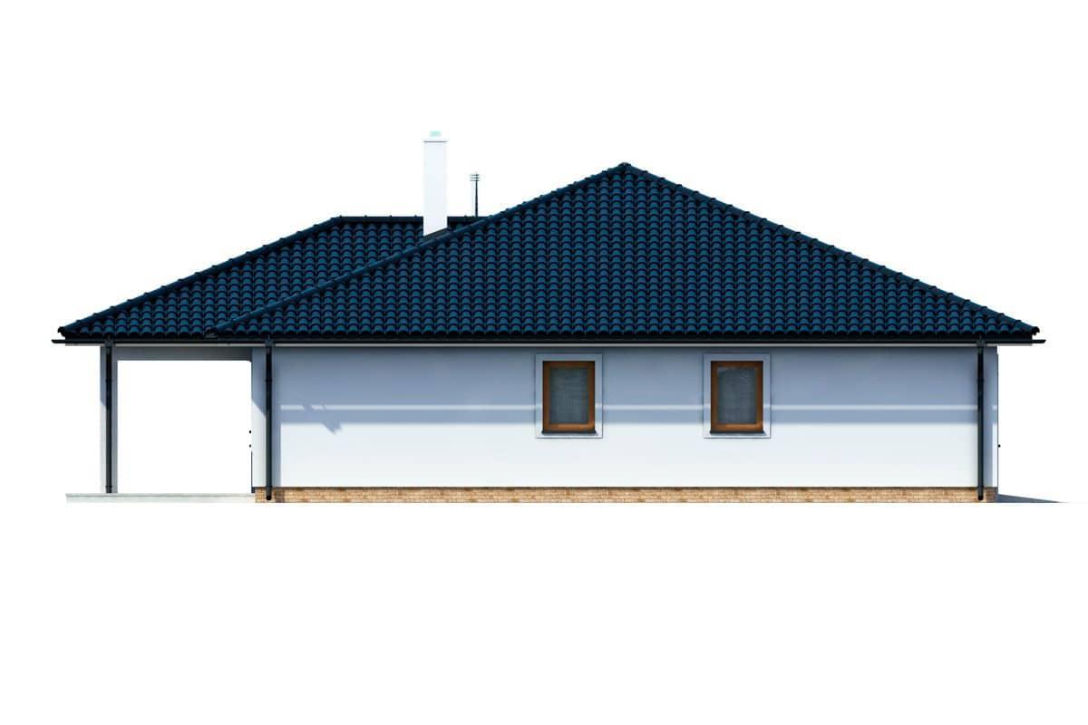 Фасад одноэтажного дома c террасой «КО-154» - слева