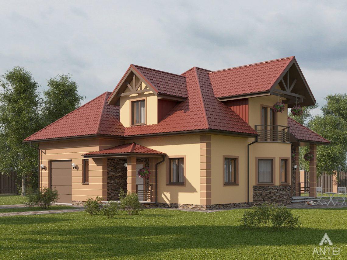 Дизайн фасадов дома с мансардой в Романовичах - вид спереди