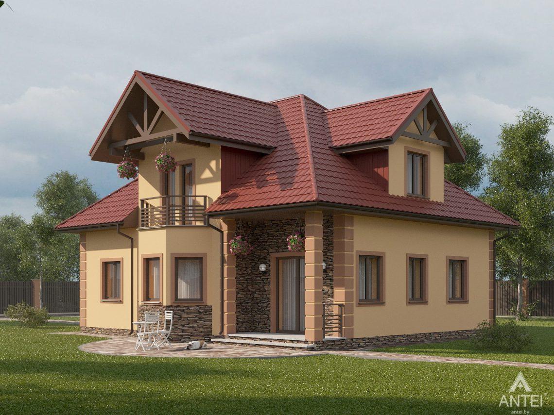 Дизайн фасадов дома с мансардой в Романовичах - вид сзади