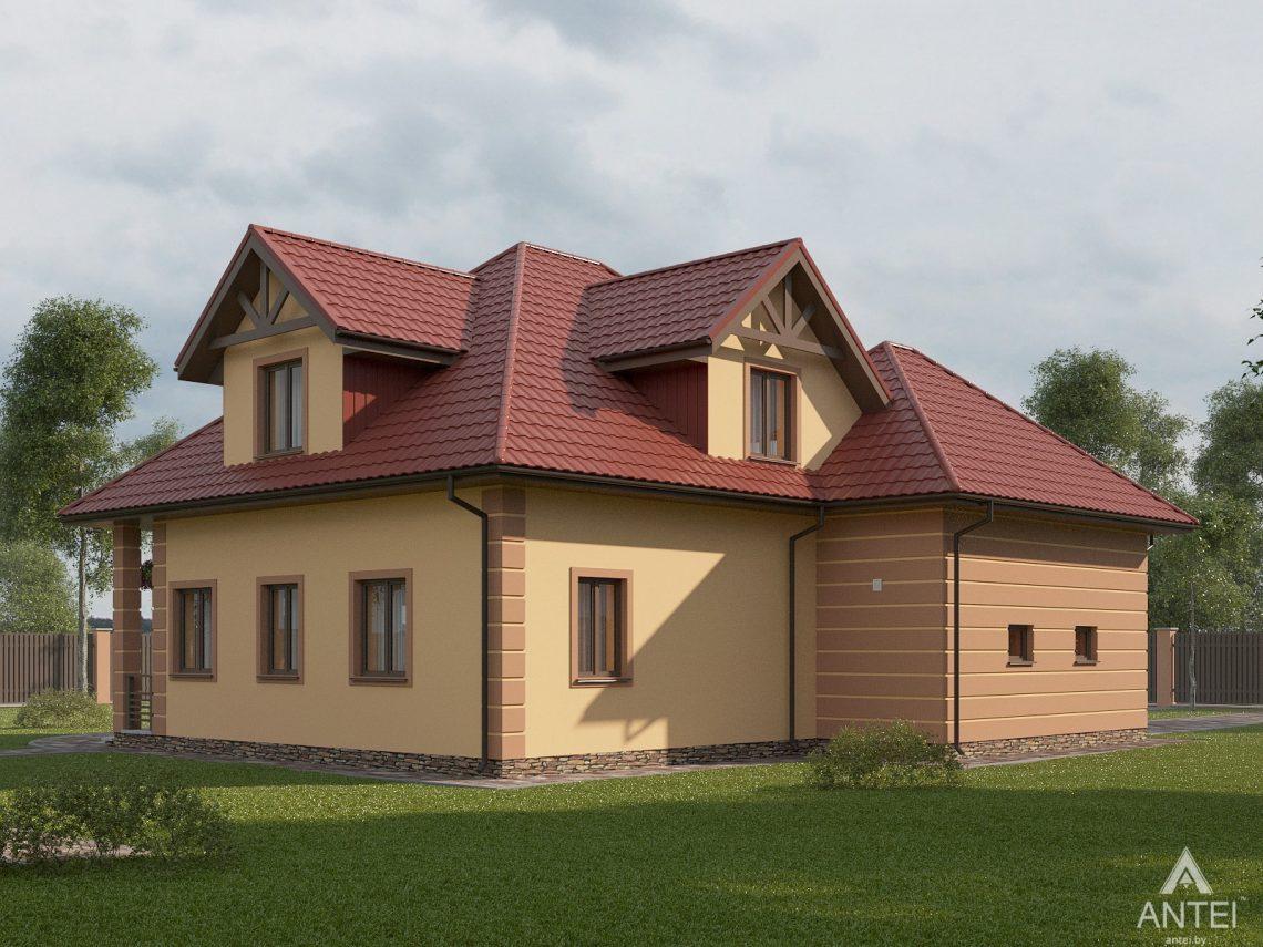 Дизайн фасадов дома с мансардой в Романовичах - вид сбоку №2