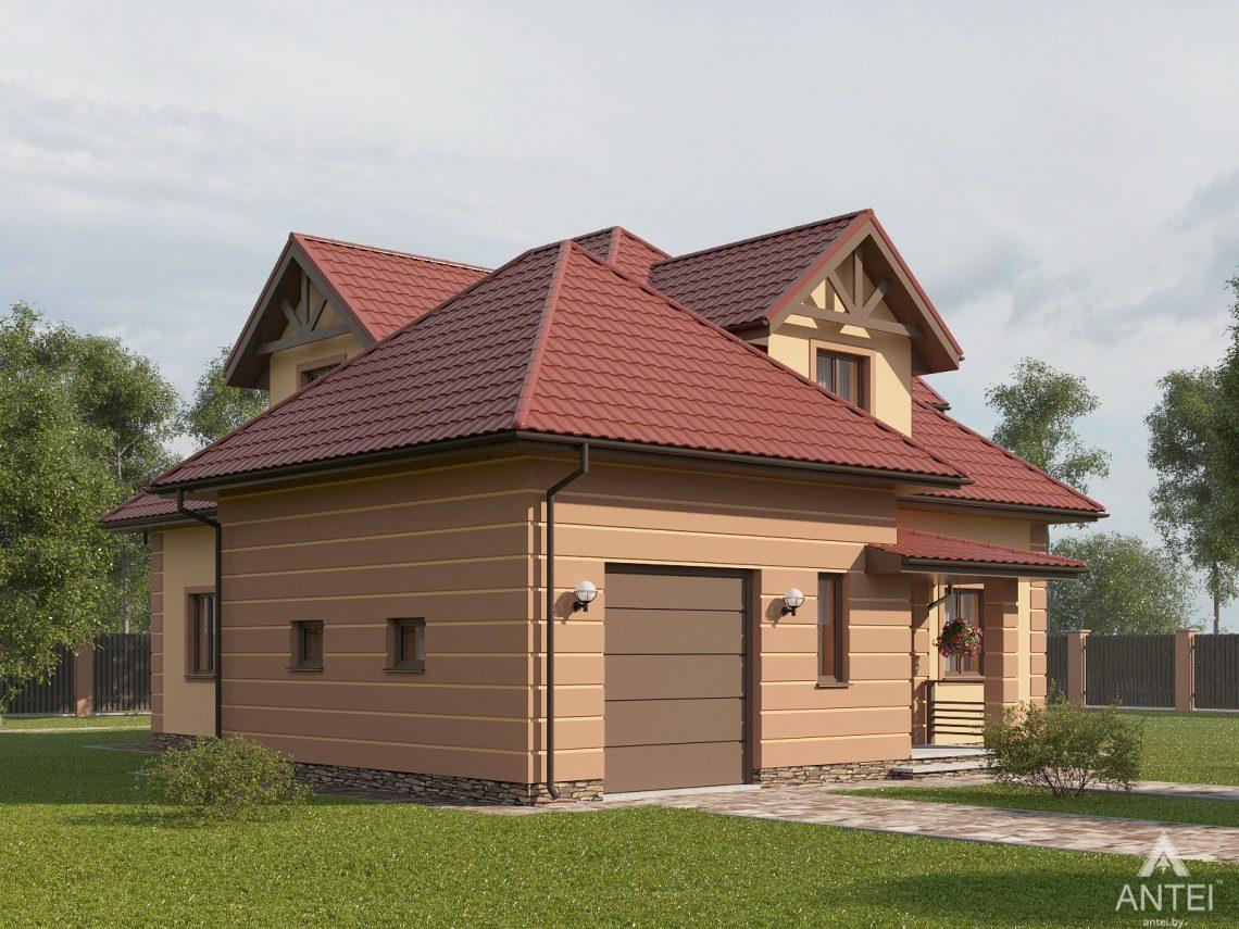 Дизайн фасадов дома с мансардой в Романовичах - вид сбоку №1