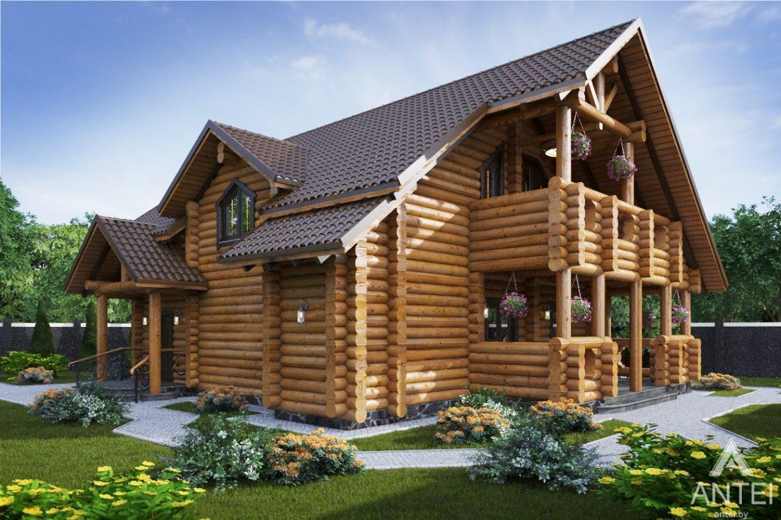 Дизайн фасадов деревянного дома с мансардой в г. Гомеле - вид сбоку