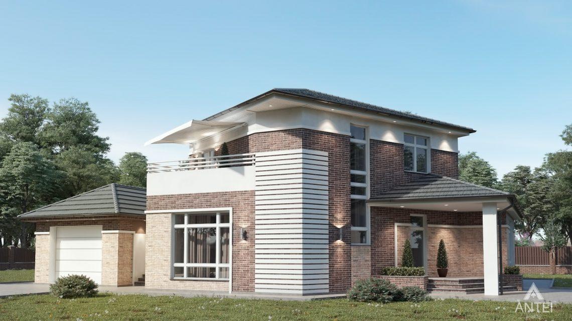 Дизайн фасадов дома в Гомельской области - вид слева