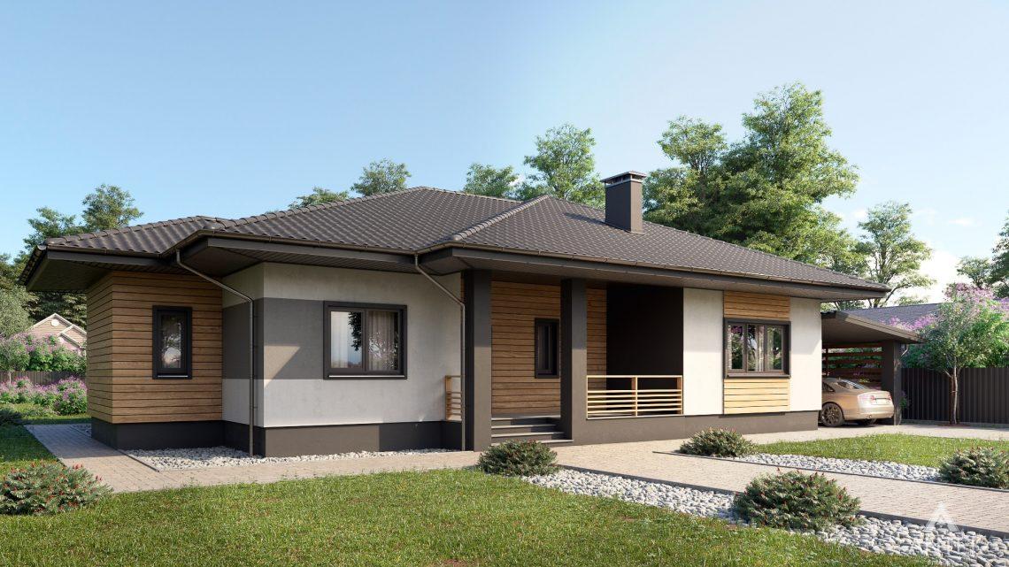 Дизайн фасадов одноэтажного жилого дома в д. Дроздово - вид спереди №2