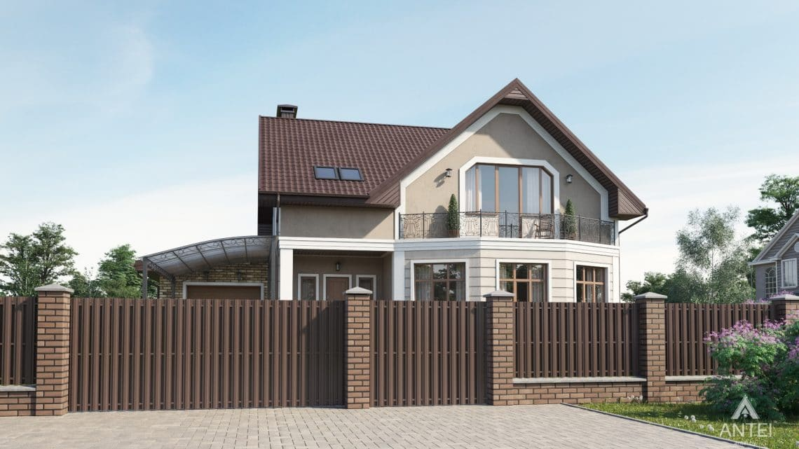 Дизайн фасадов дома в д. Дроздово, Минский р-н - вид спереди №1