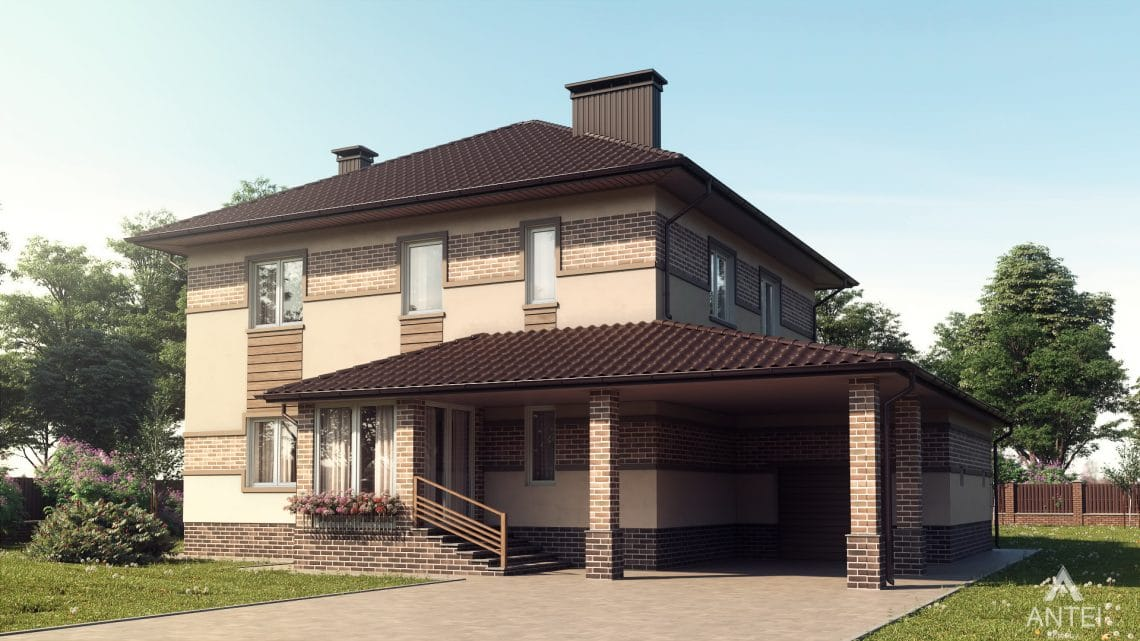 Дизайн фасадов дома в Минском районе - вид спереди
