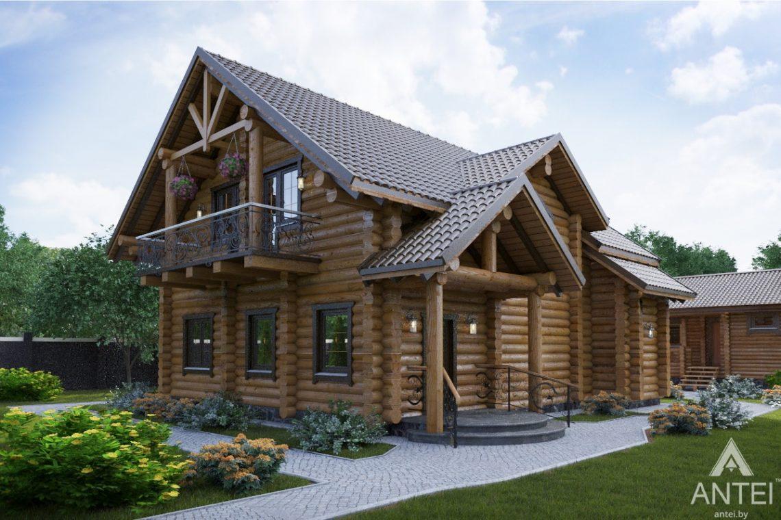 Дизайн фасадов деревянного дома с мансардой в г. Гомеле - вид слева
