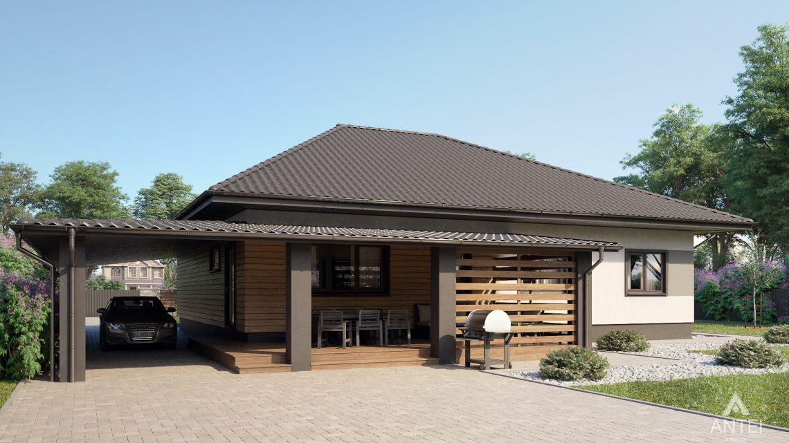 Дизайн фасадов одноэтажного жилого дома в д. Дроздово - вид сзади