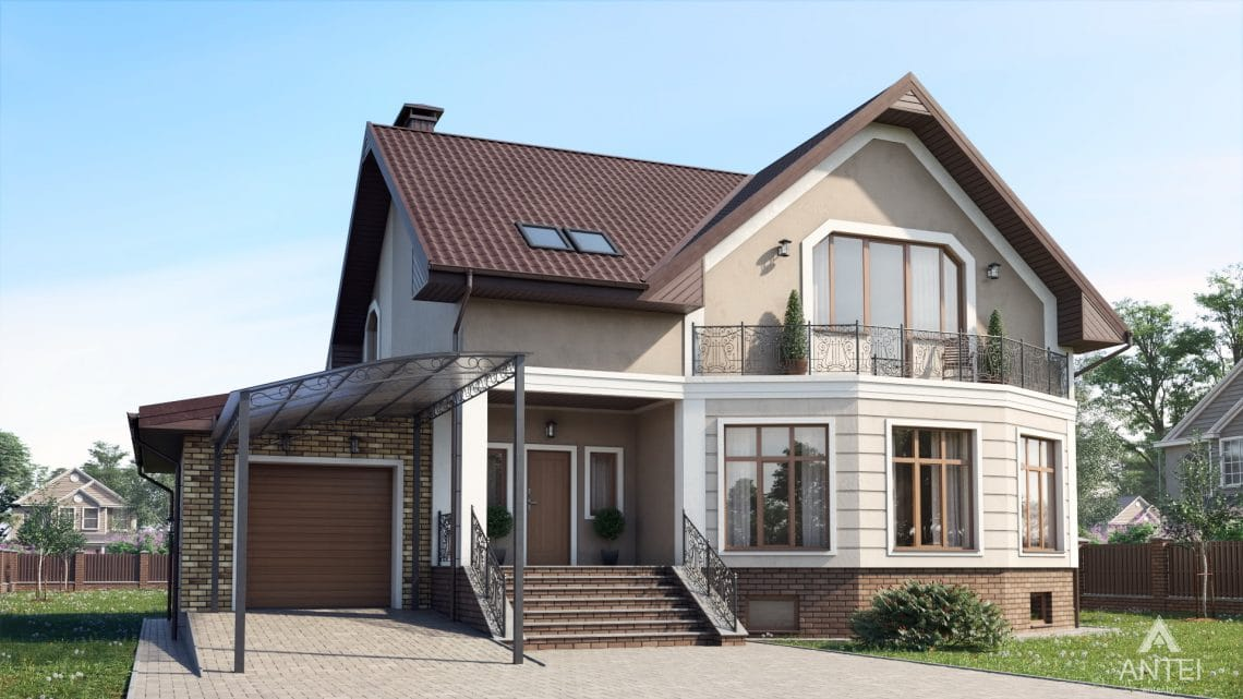 Дизайн фасадов дома в д. Дроздово, Минский р-н - вид спереди №2