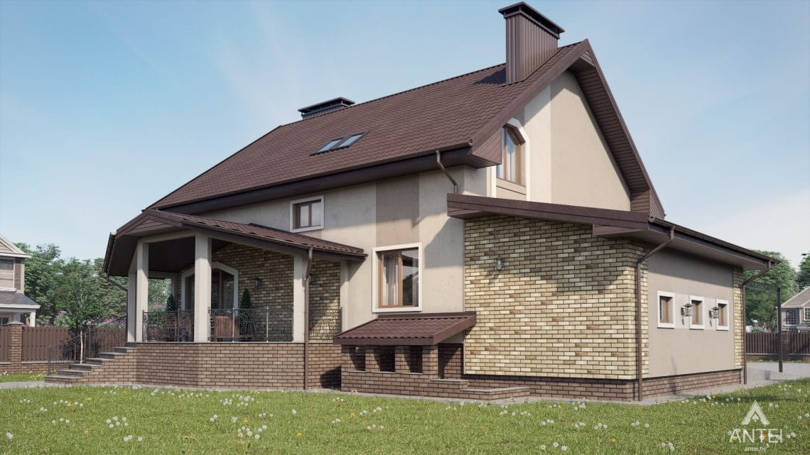 Дизайн фасадов дома в д. Дроздово, Минский р-н - вид сбоку