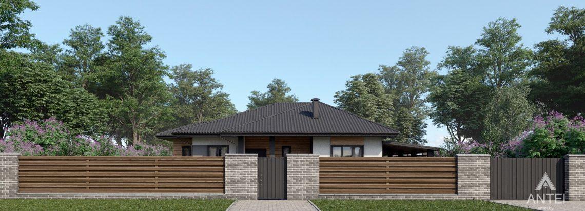 Дизайн фасадов одноэтажного жилого дома в д. Дроздово - вид спереди №1