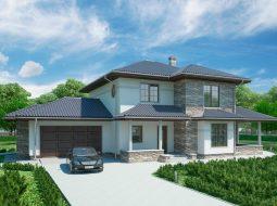 Проект двухэтажного дома с гаражом на 2 авто и террасой «КД-44»