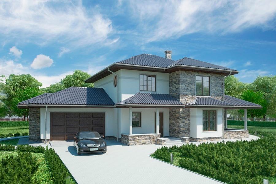 для проекты частных домов с гаражом фото этот