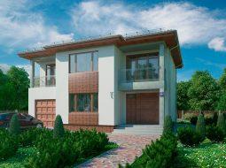 Проект двухэтажного дома с гаражом и террасой «КД-46»