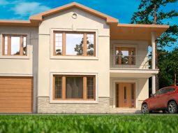 Проект двухэтажного дома с гаражом и террасой «КД-48»