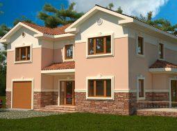 Проект двухэтажного дома с гаражом и террасой «КД-49»
