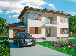Проект двухэтажного дома с гаражом на 2 авто и террасой «КД-50»