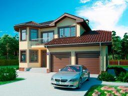 Проект двухэтажного дома с гаражом на 2 авто и террасой «КД-51»