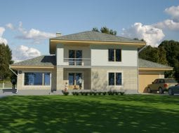 Проект двухэтажного дома с гаражом и террасой «КД-53»