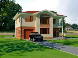 Проект двухэтажного дома с гаражом и террасой «КД-55»