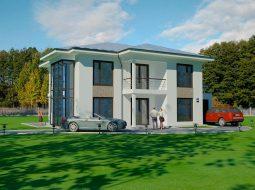 Проект двухэтажного дома с гаражом и террасой «КД-56»