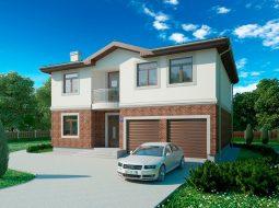 Проект двухэтажного дома с гаражом и террасой «КД-57»