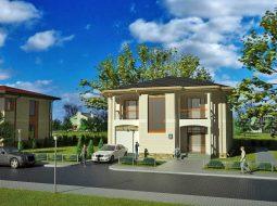 Проект двухэтажного дома с гаражом и террасой «КД-59»