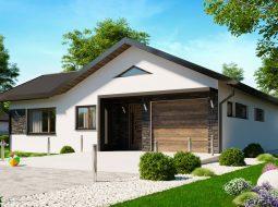Проект одноэтажного дома c гаражом и террасой «КО-160»