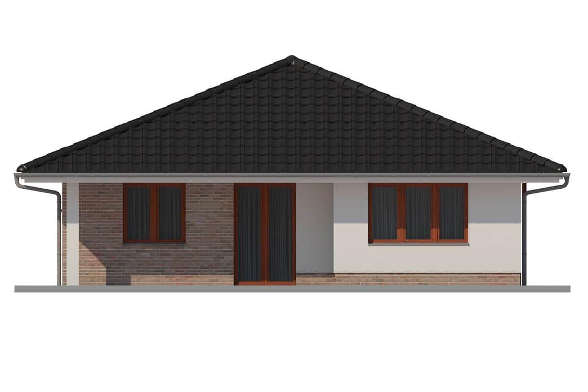 Фасад одноэтажного дома c террасой «КО-161» - сзади