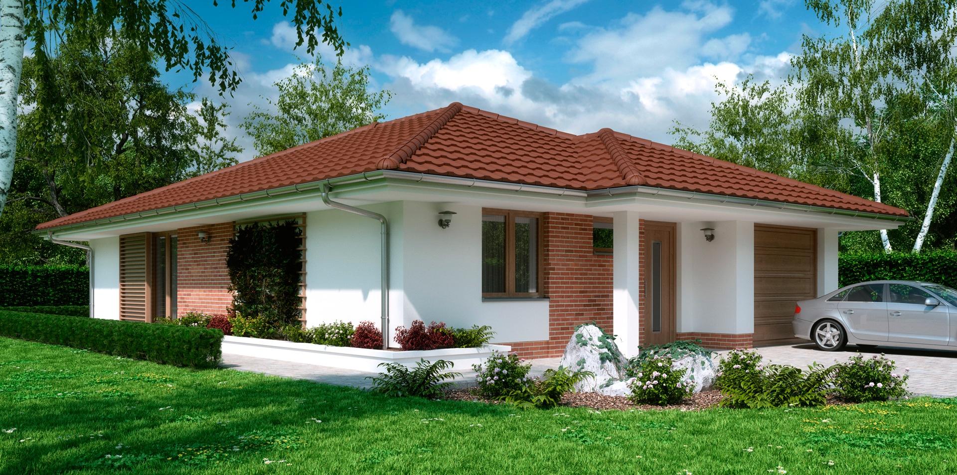 Проект одноэтажного дома c гаражом и террасой «КО-162» - фото №1