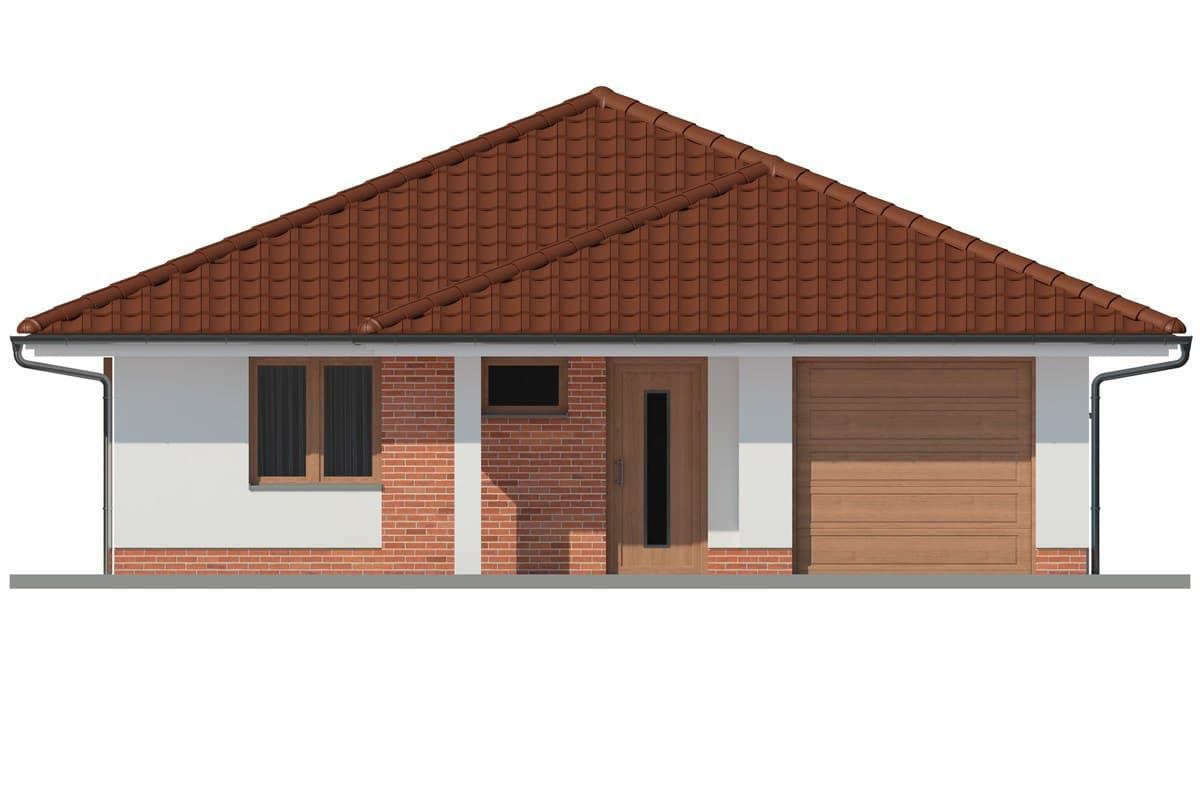 Фасад одноэтажного дома c гаражом и террасой «КО-162» - спереди