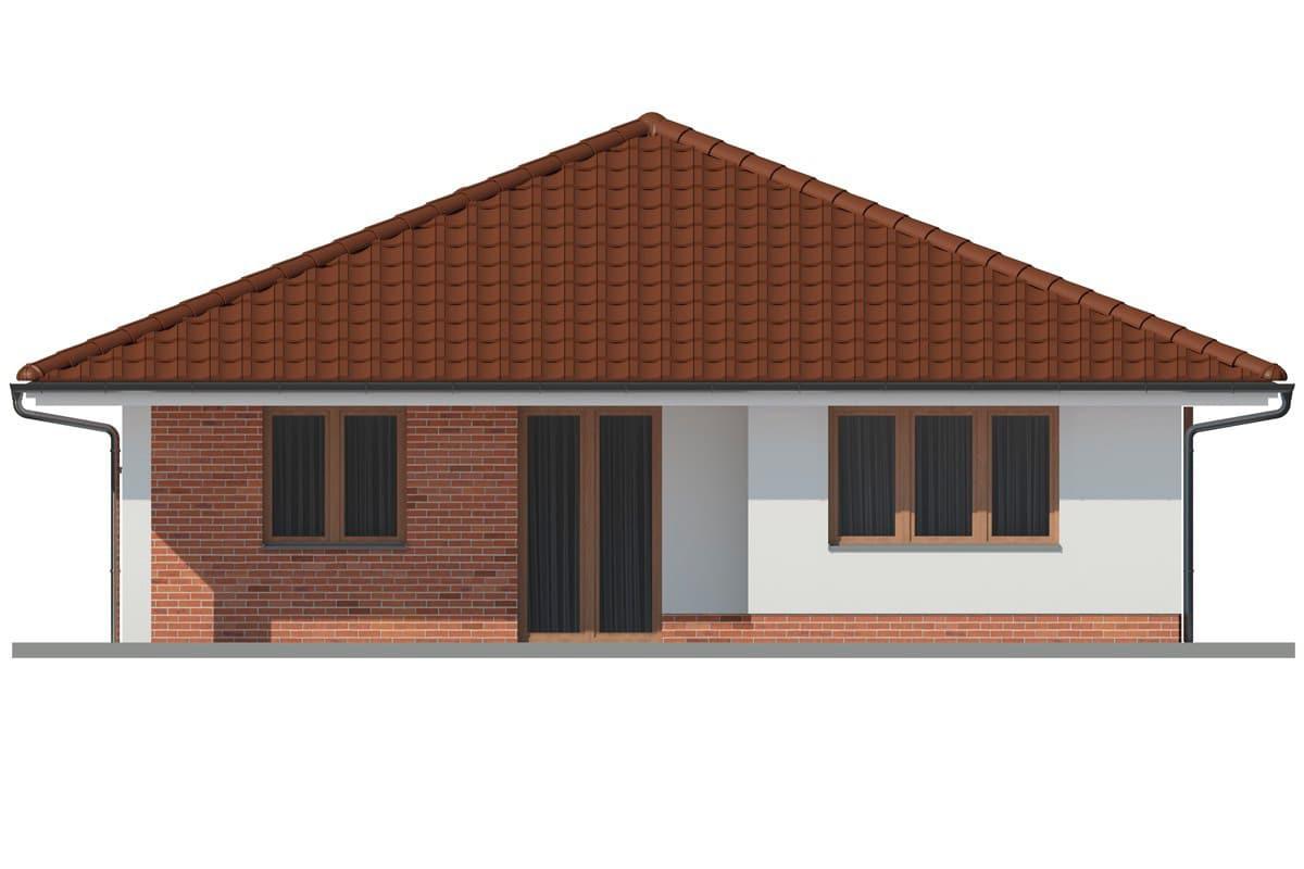 Фасад одноэтажного дома c гаражом и террасой «КО-162» - сзади