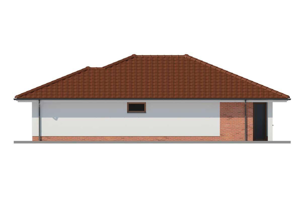 Фасад одноэтажного дома c гаражом и террасой «КО-162» - справа